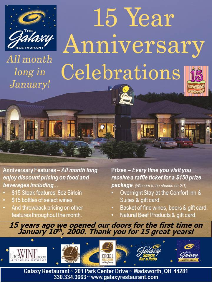 You Visit Will Receive A Raffle Ticket With Each Guest Check Good For Your Chance To Win 3 Great Gift Baskets Worth 150 Hy Anniversary Galaxy